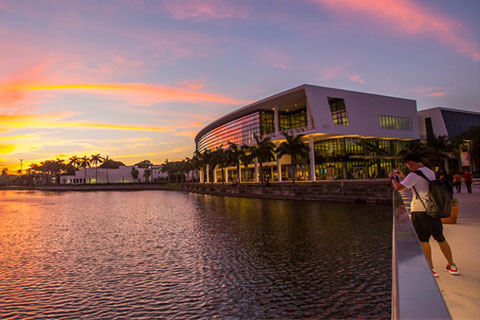 sunset behind shalala center